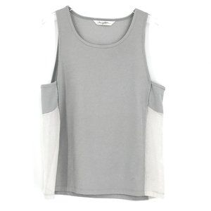X by Gottex Gray White Mesh Relaxed Tank Top